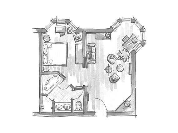 Example of room layout Country Home Suite